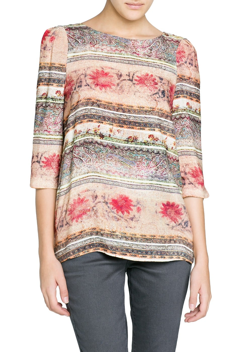 Faded print flowy blouse