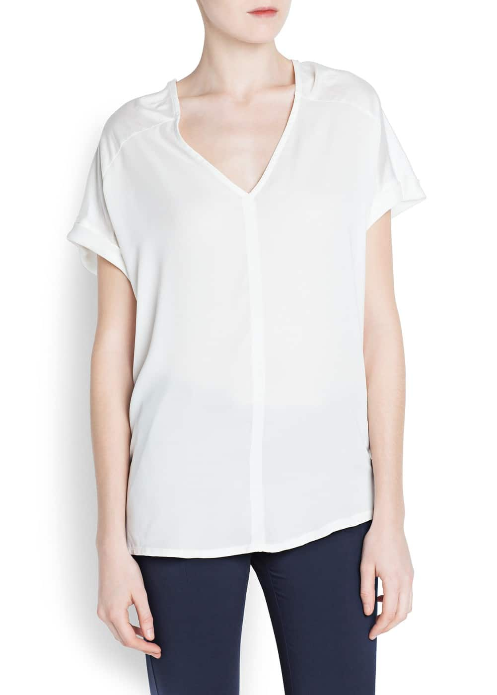 Double v-neck t-shirt | MANGO