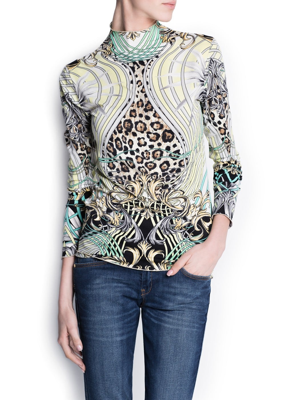 Scarf print fitted t-shirt | MANGO