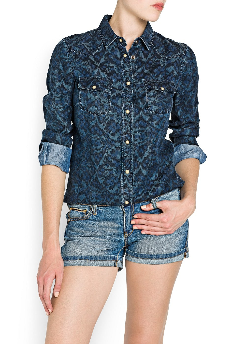 Ikat print denim shirt