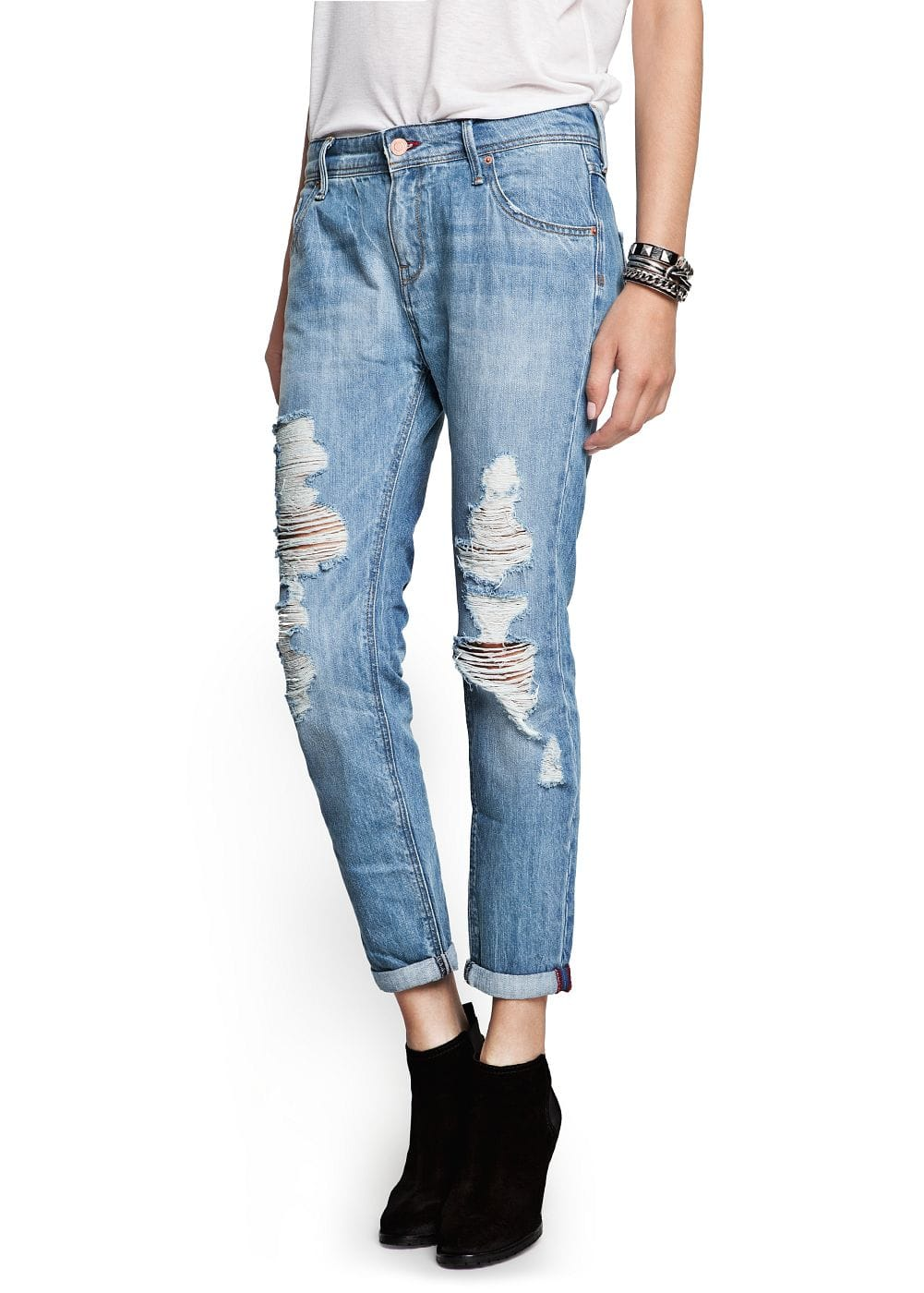 Light wash ripped boyfriend jeans
