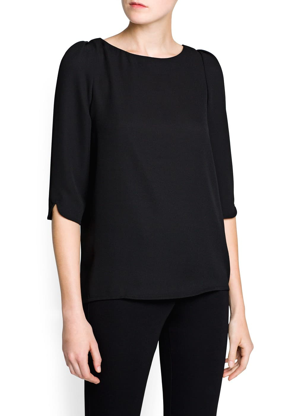 Puffed sleeve crepe blouse