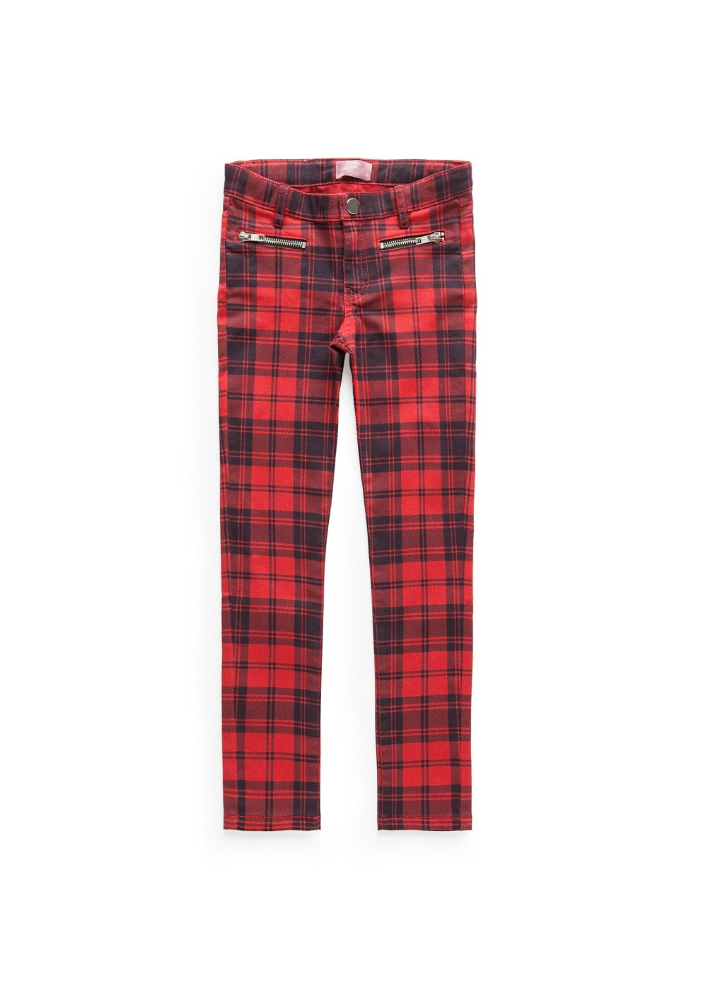 Slim-fit plaid trousers