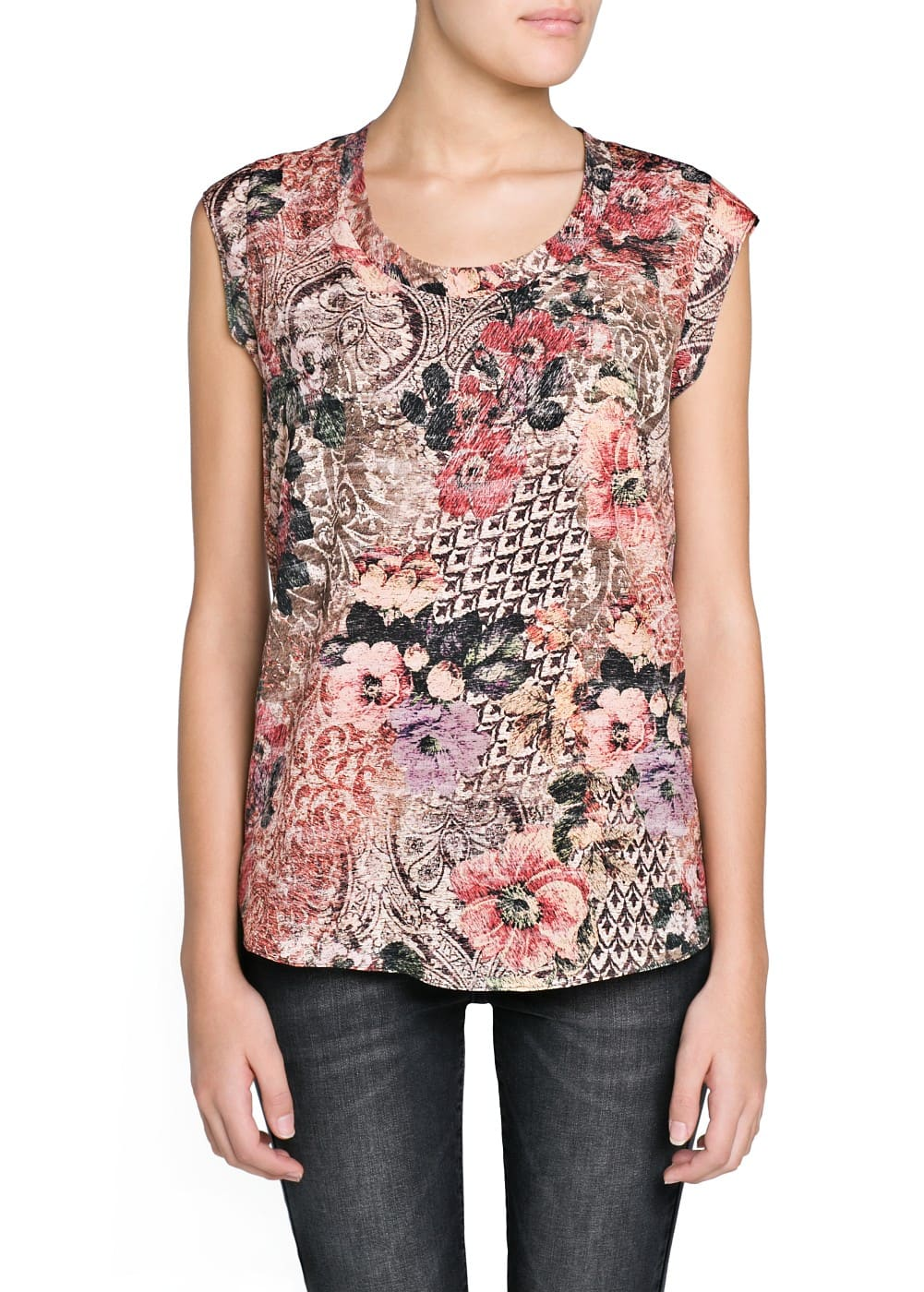 Tapestry print flowy shirt