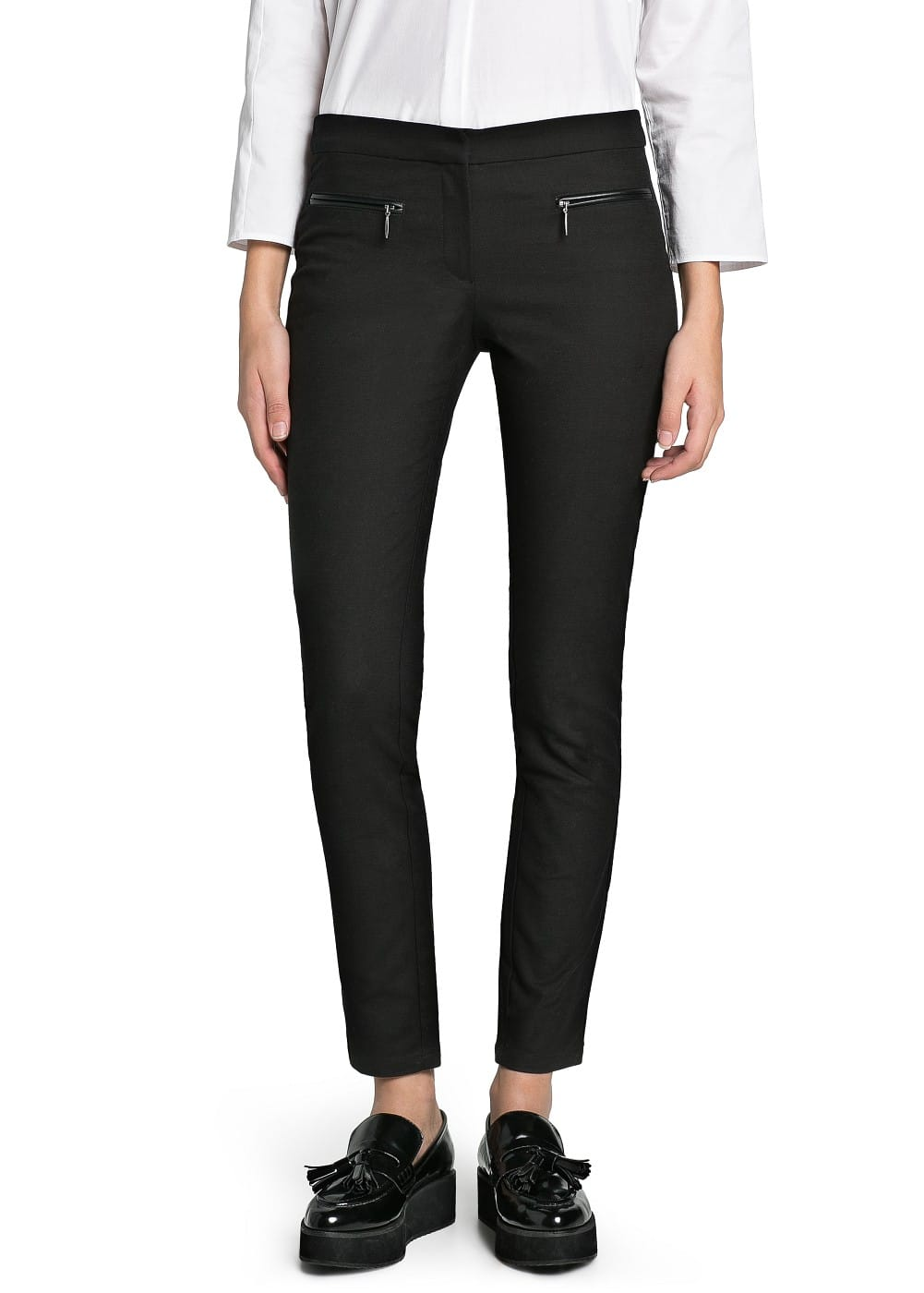 Slim-fit zip trousers