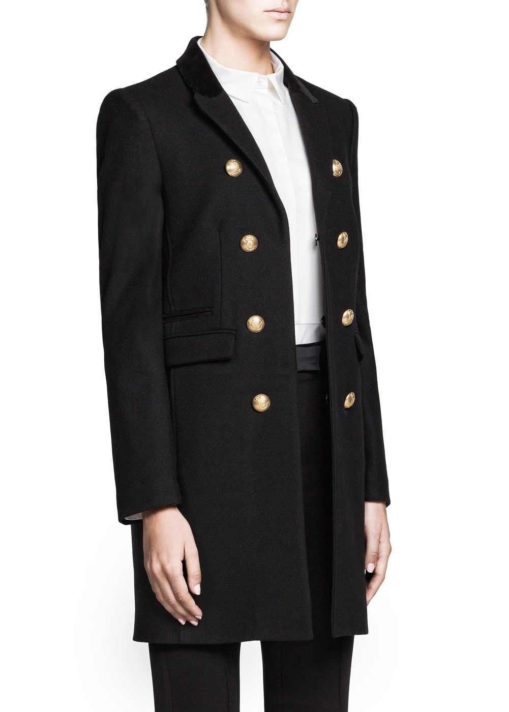 PREMIUM - Engraved button wool-blend coat