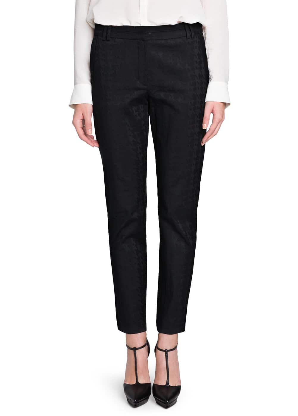 Textured houndstooth trousers | MANGO