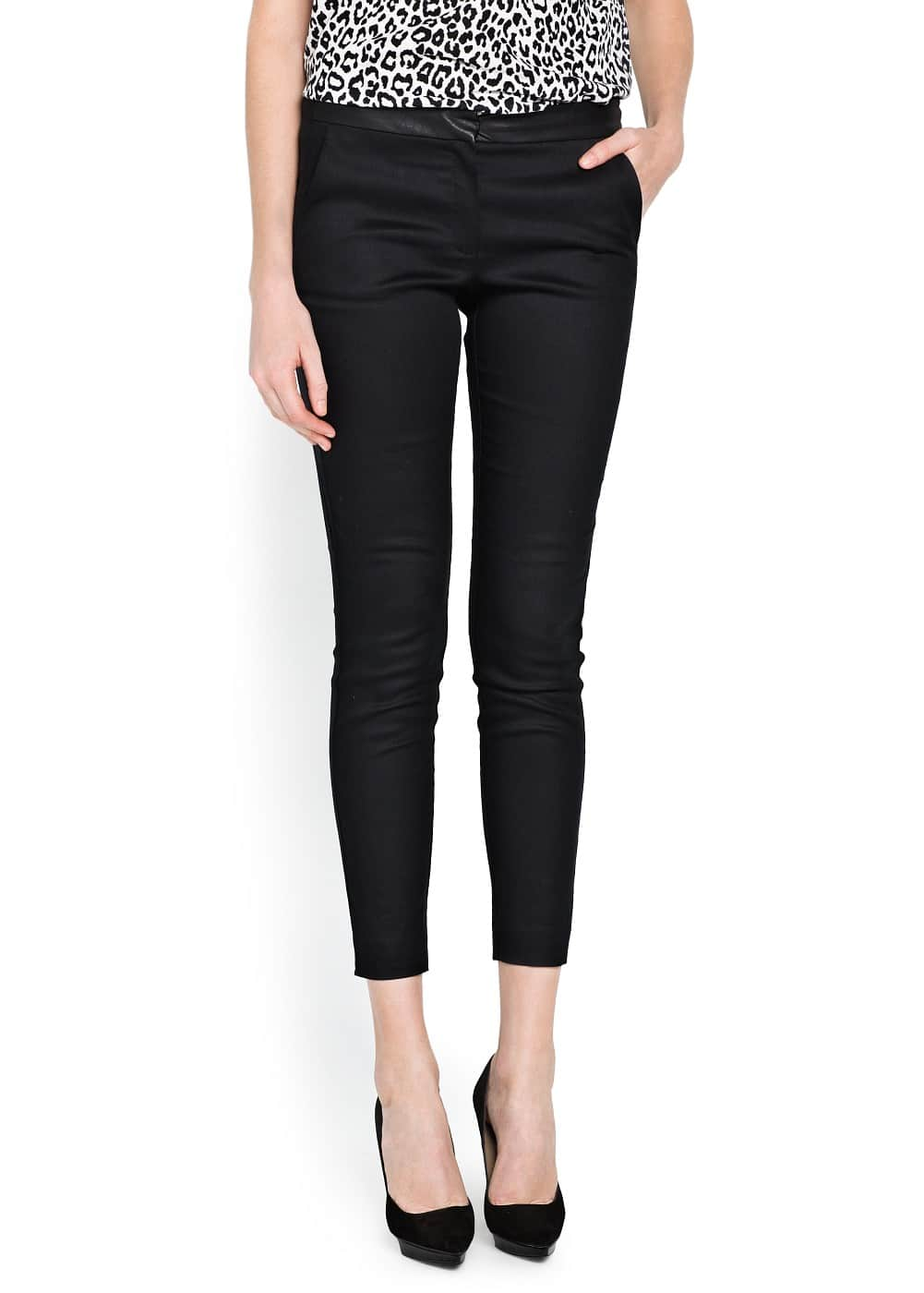 Leather appliqué slim trousers