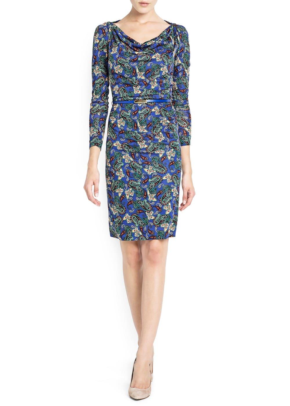Cowl neck paisley dress | MANGO
