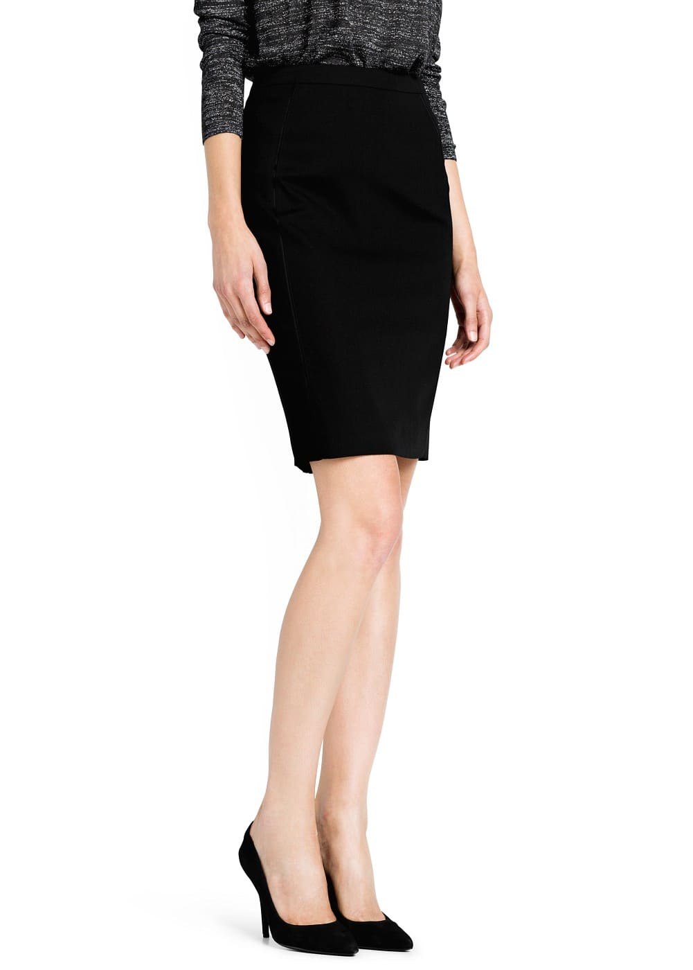 Satin detail pencil skirt | MANGO
