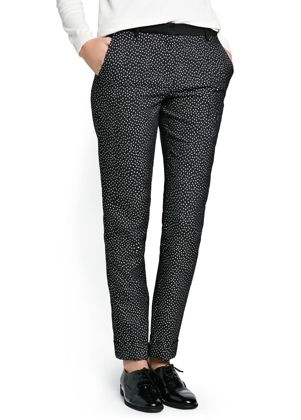 Jacquard tapered trousers | MANGO