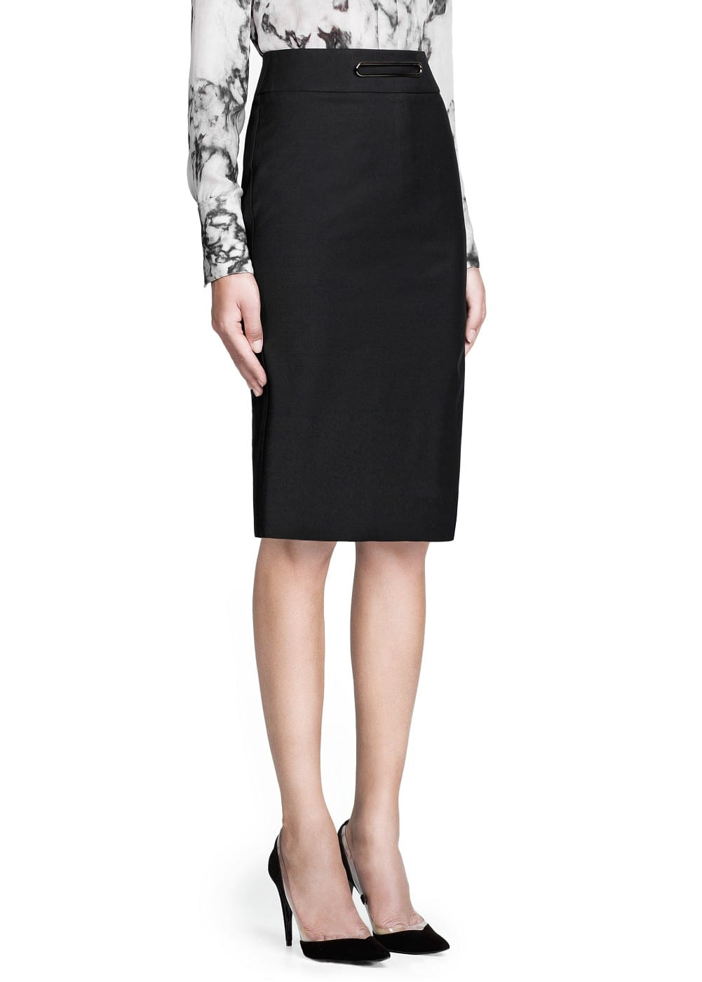 PREMIUM - Metal appliqué wool-blend skirt