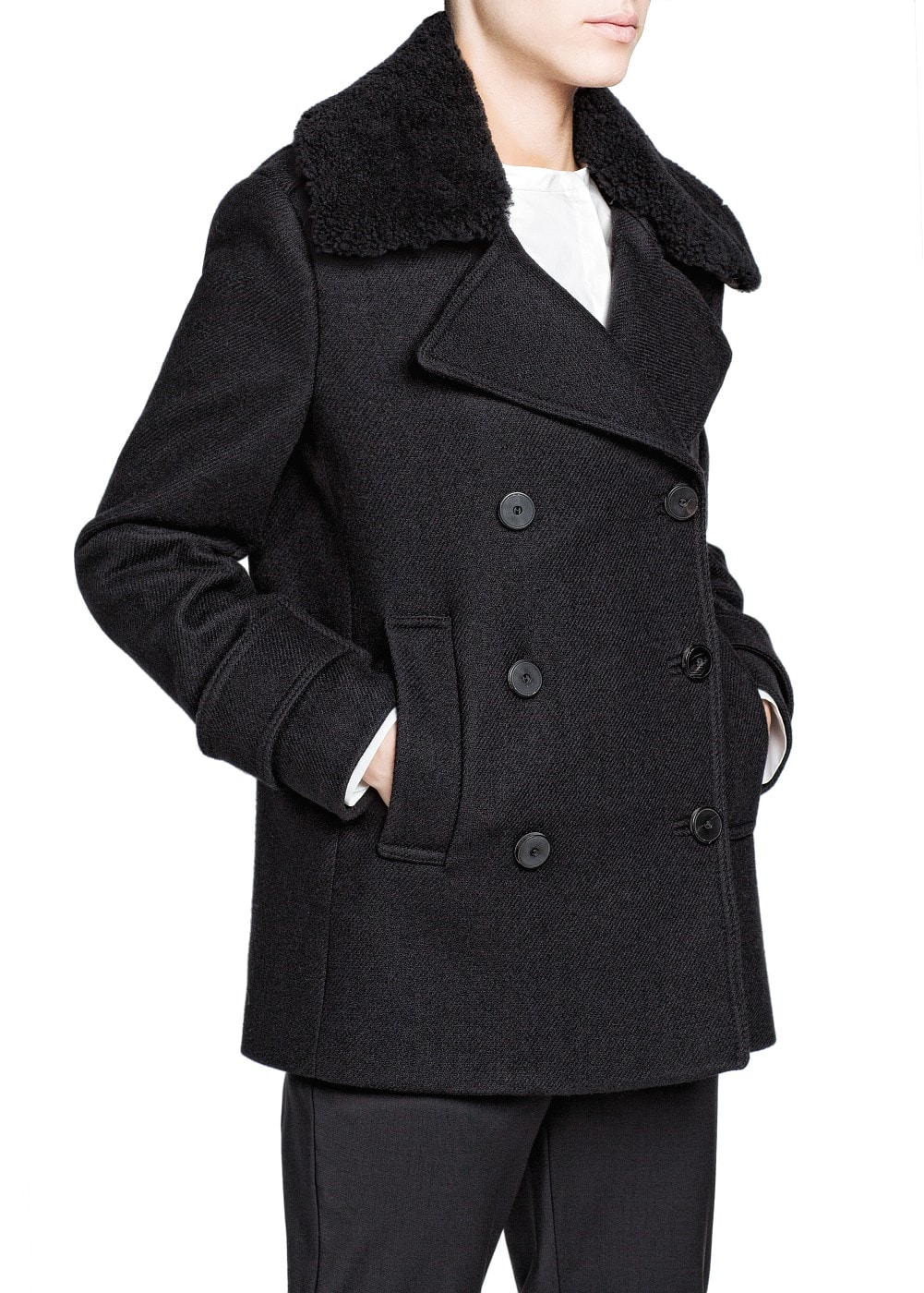 PREMIUM - Shearling collar wool-blend peacoat