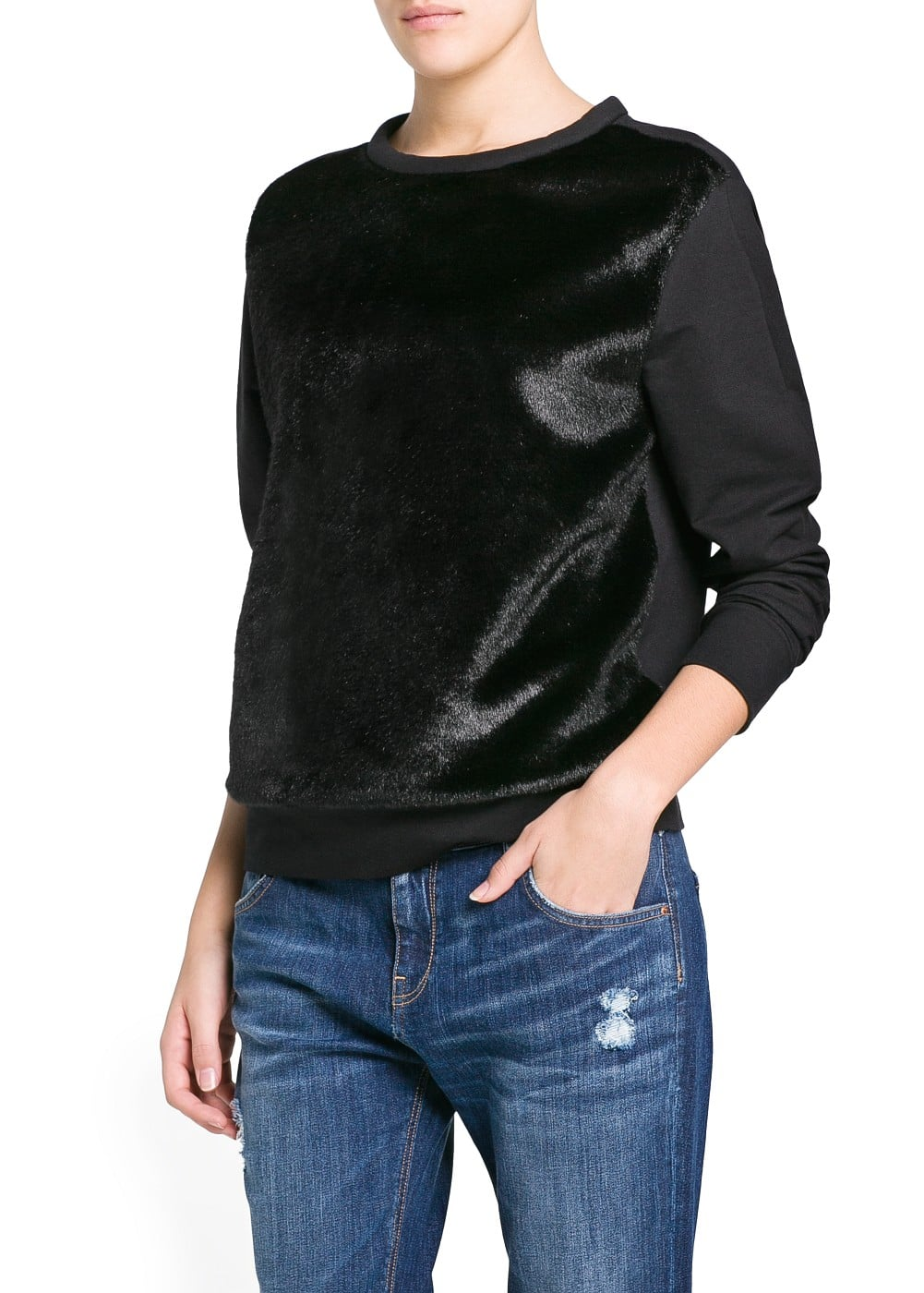 Faux fur combi sweatshirt