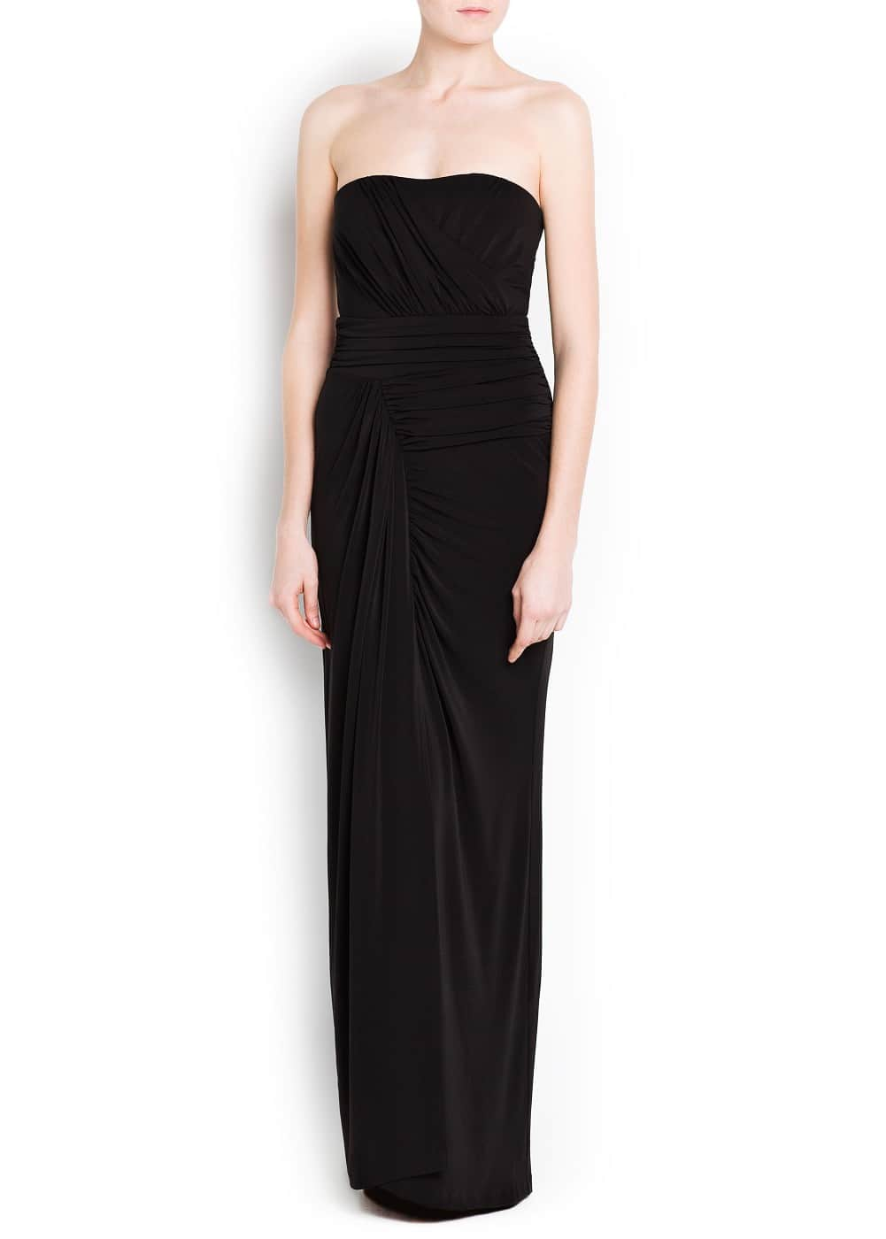 Strapless draped gown | MANGO