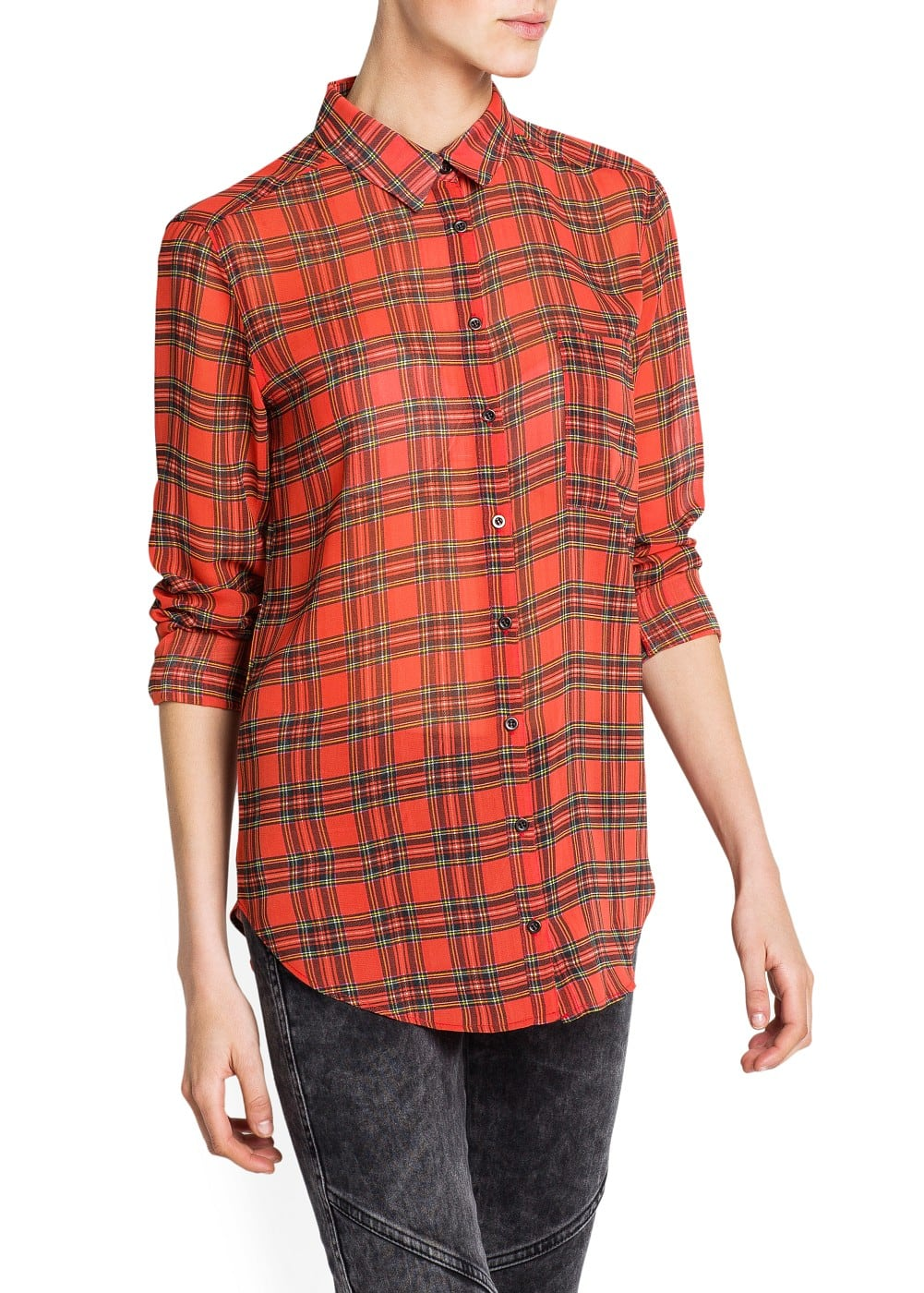 CHECK CHIFFON SHIRT