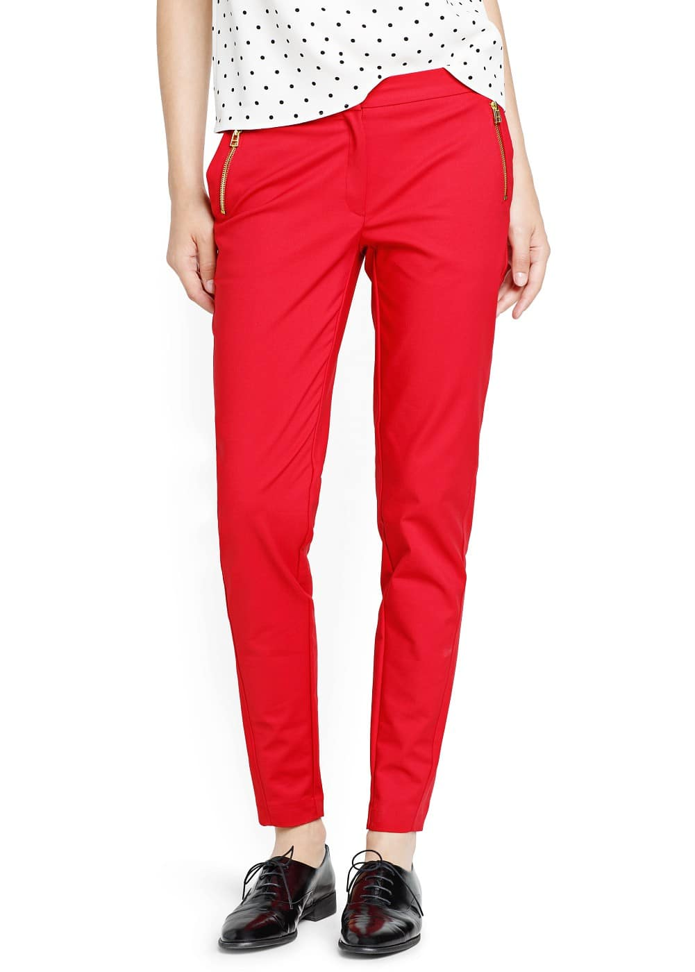 Cropped slim trousers