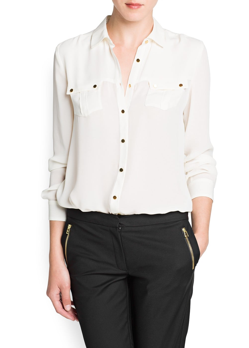 Pockets chiffon shirt | MANGO
