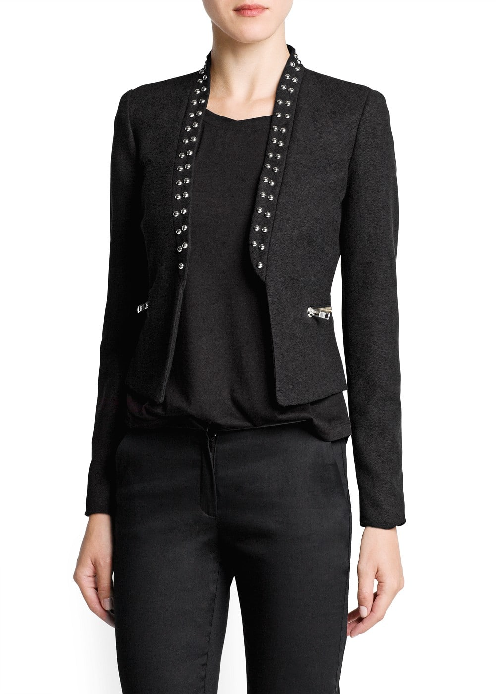 Studded cotton blazer | MANGO
