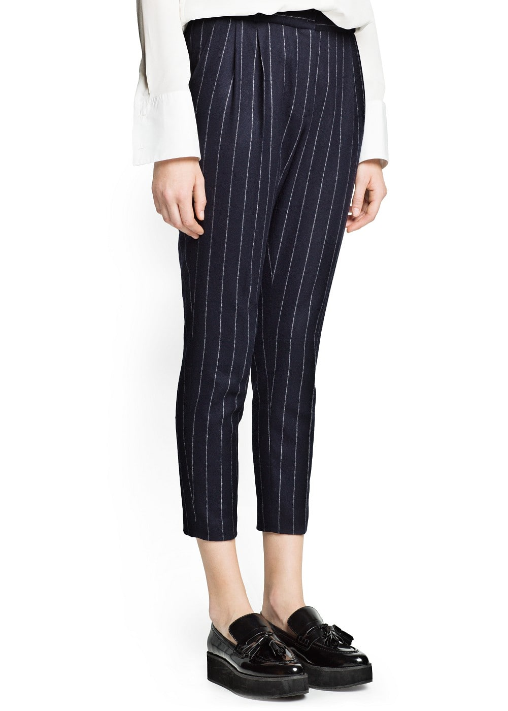 Pinstripe wool-blend suit trousers
