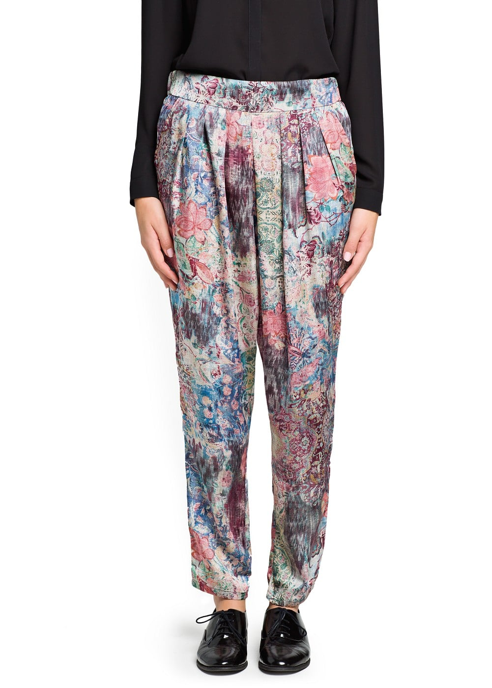 Tapestry floral print flowy trousers | MANGO