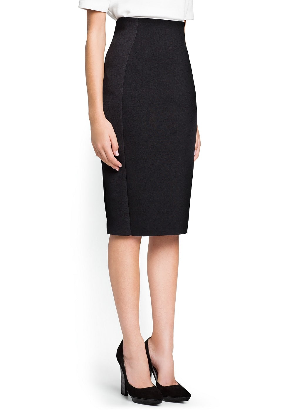 Neoprene-effect pencil skirt | MANGO