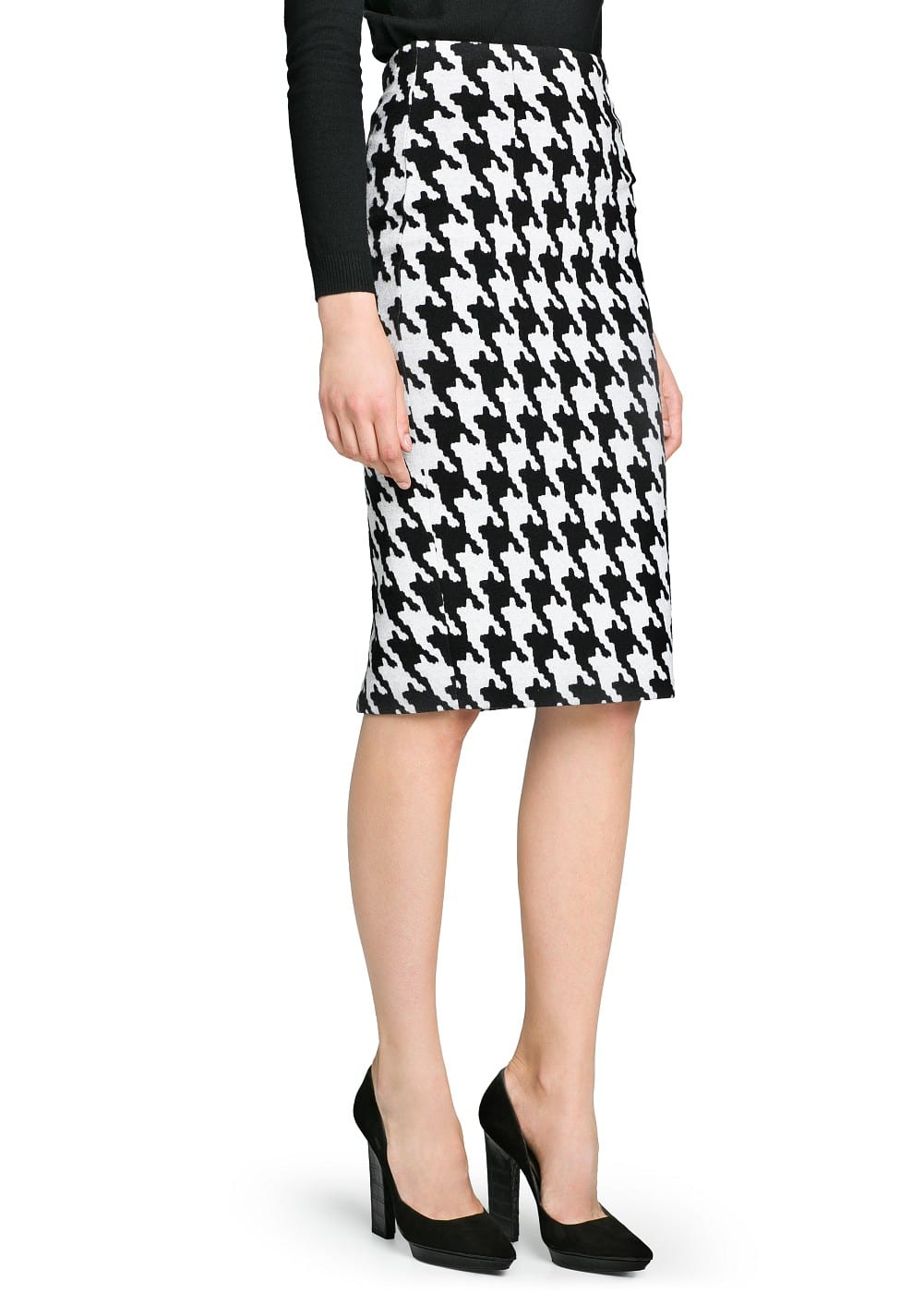 Houndstooth pencil skirt | MANGO