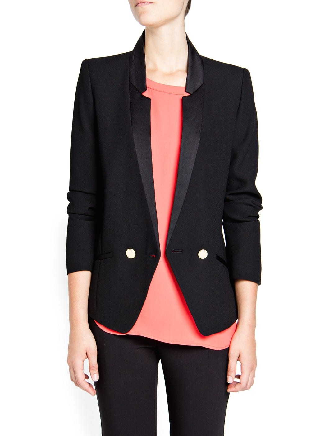 Double-breasted crepe blazer