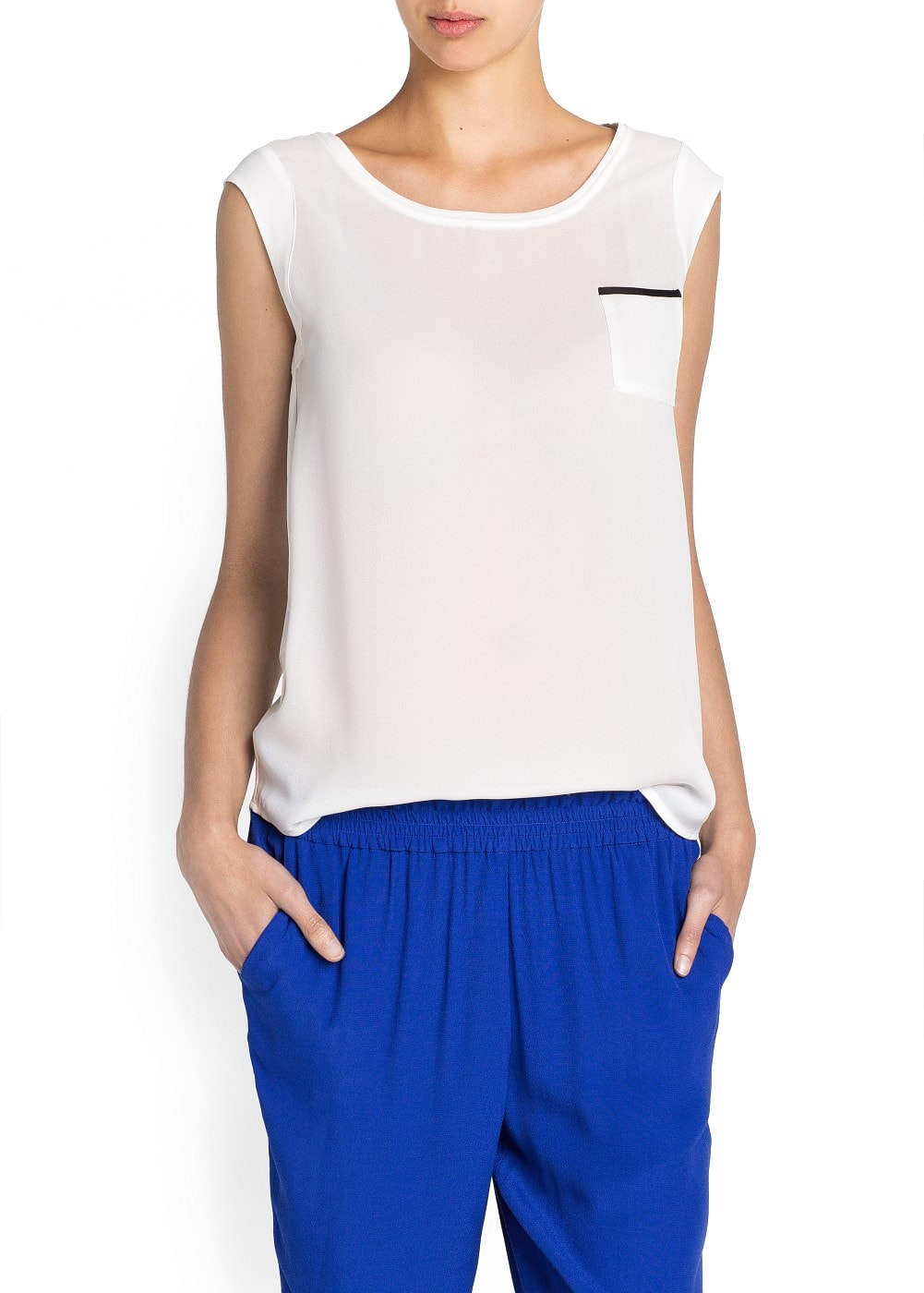 Cap sleeved sheer t-shirt | MANGO