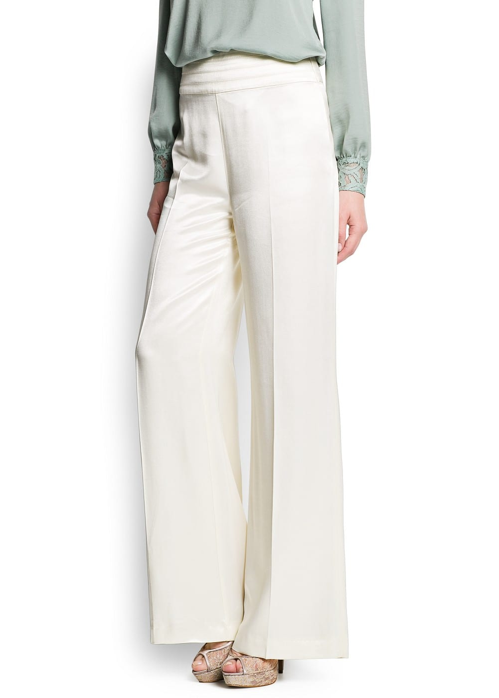 Satin finish palazzo trousers | MANGO