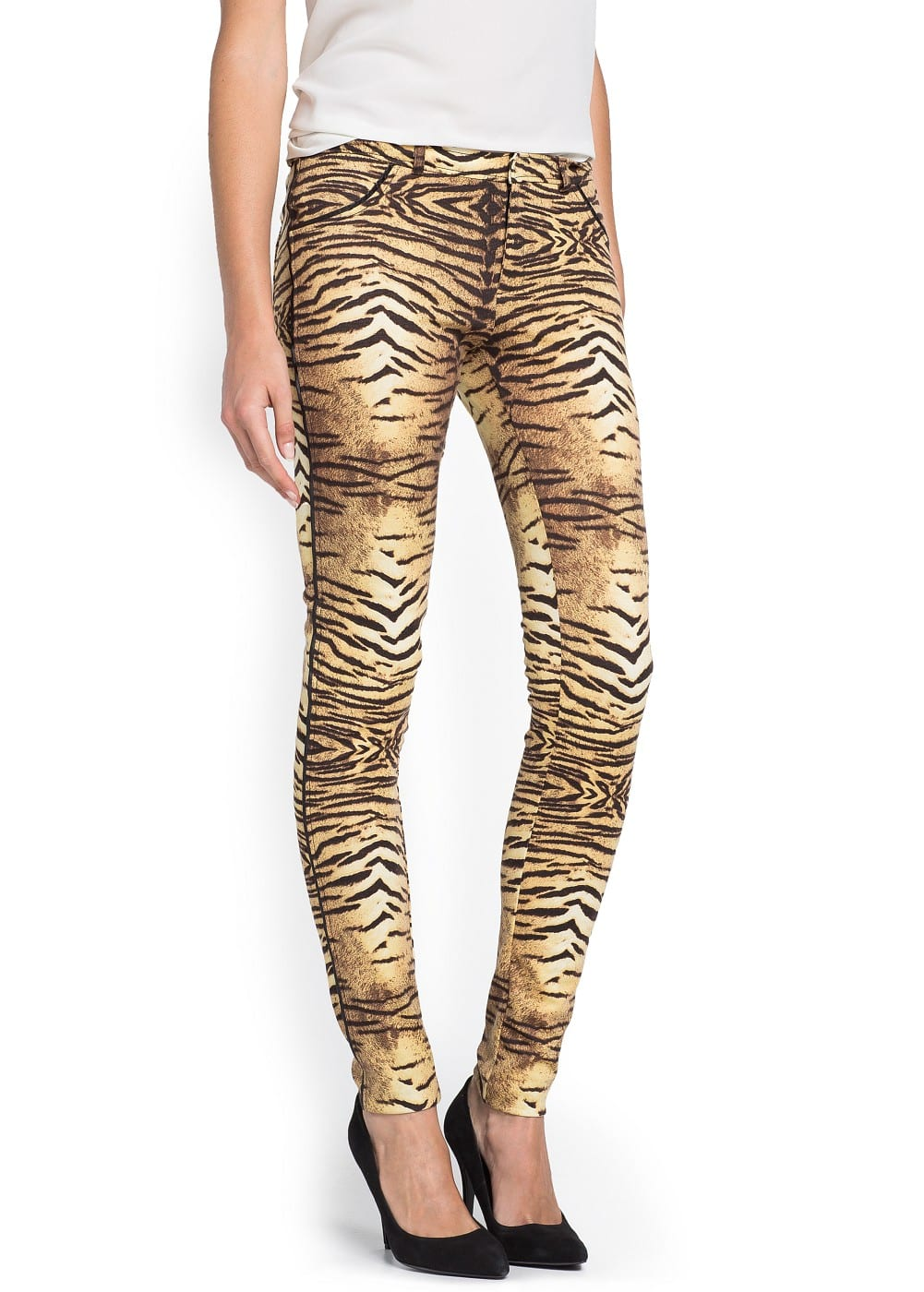 Slim-fit animal print jersey trousers | MANGO