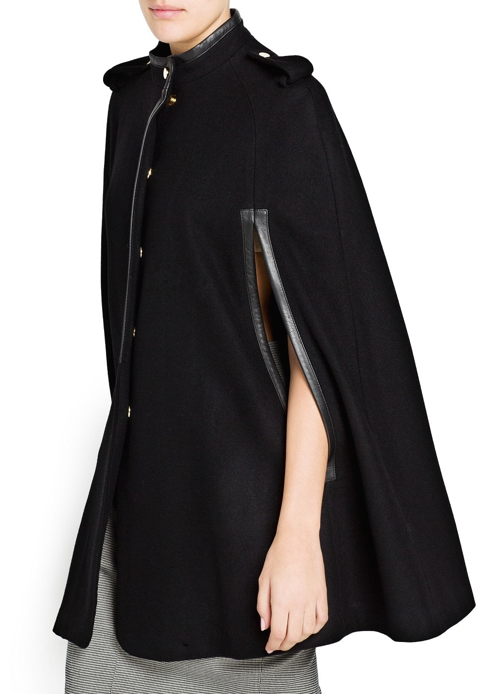 Leather detail wool-blend cape