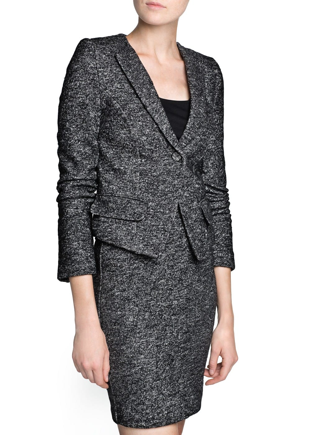 Wool cotton-blend flecked jacket