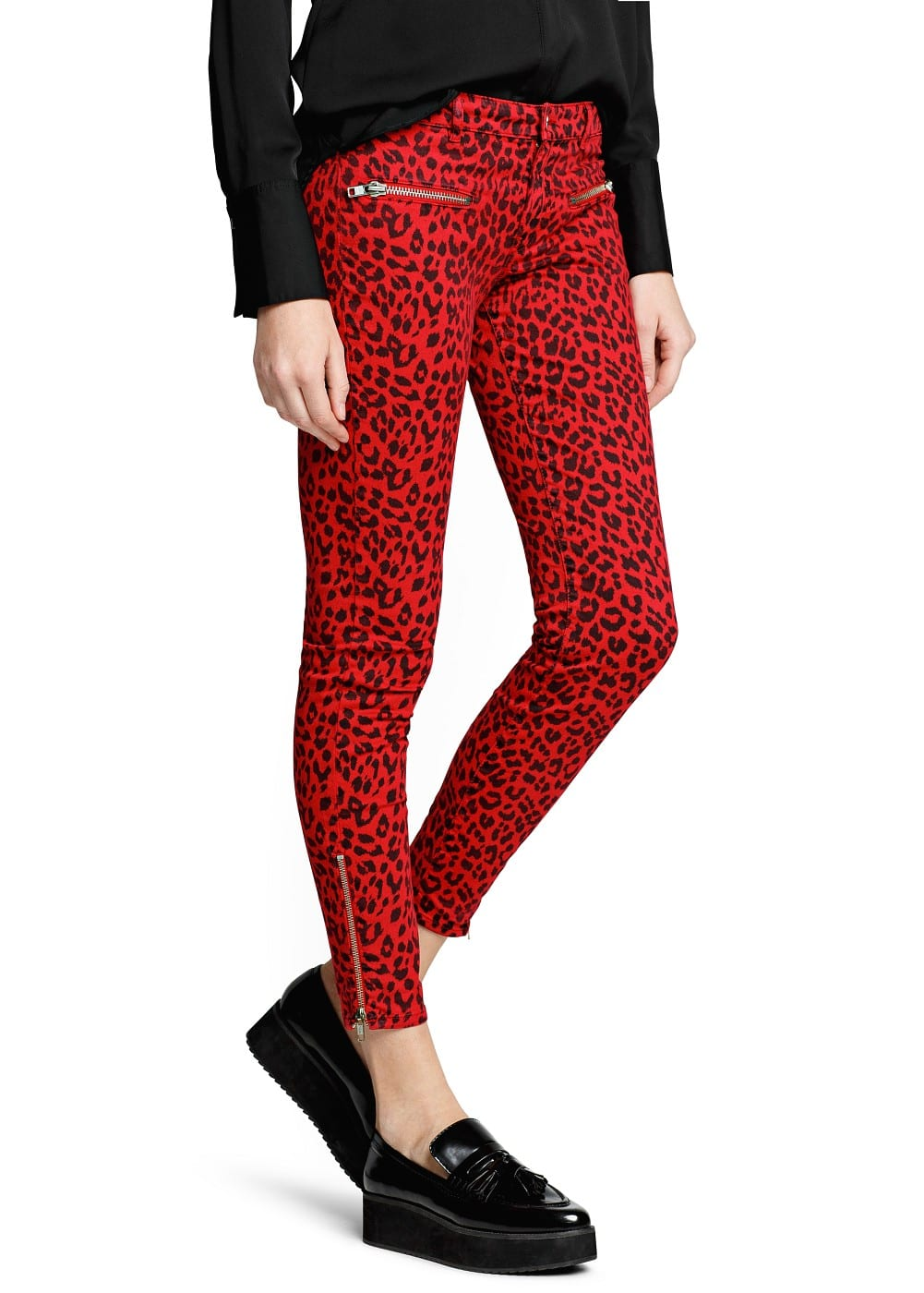 Leopard print slim-fit trousers