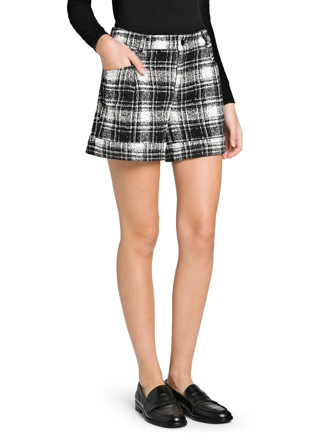 High waist check shorts | MANGO