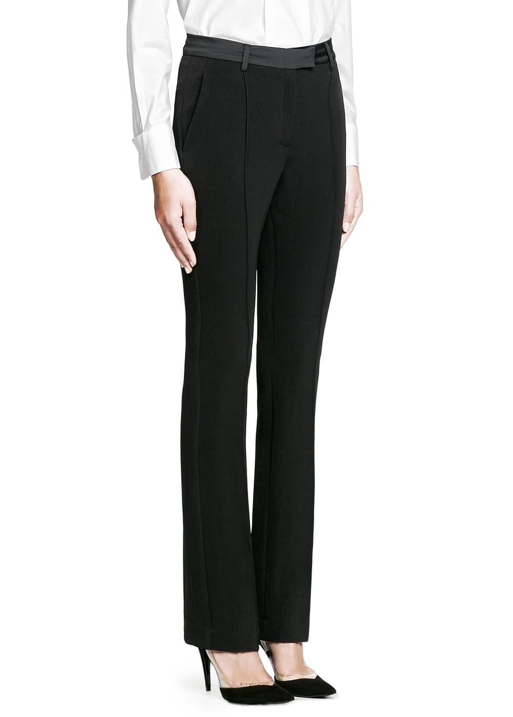 Premium - satin trim flared trousers | MANGO
