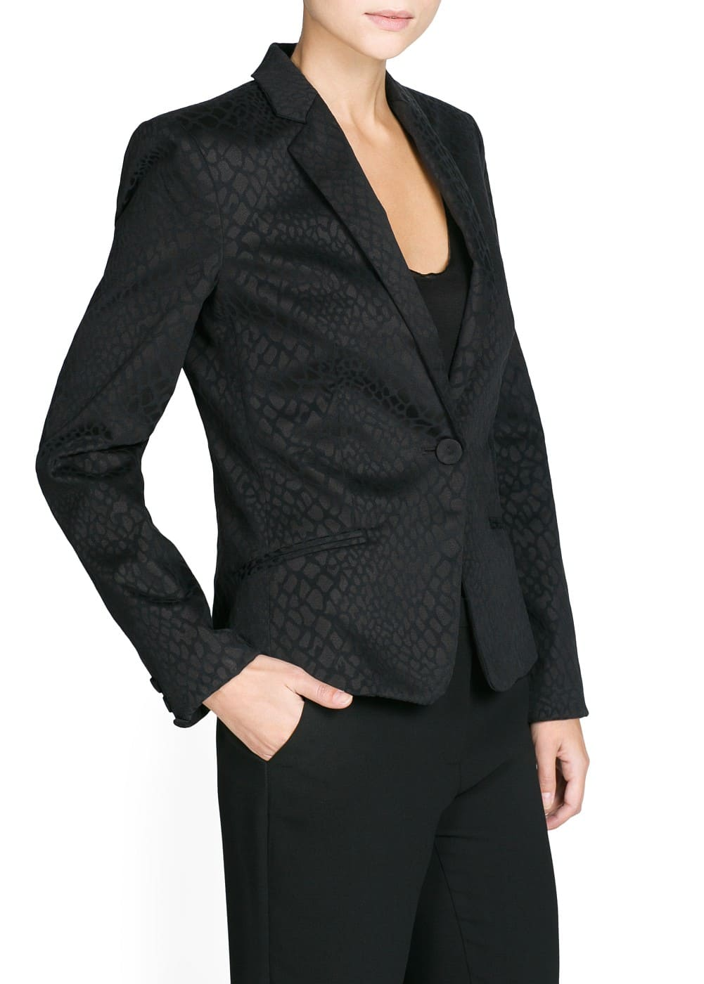 Animal textured blazer | MANGO