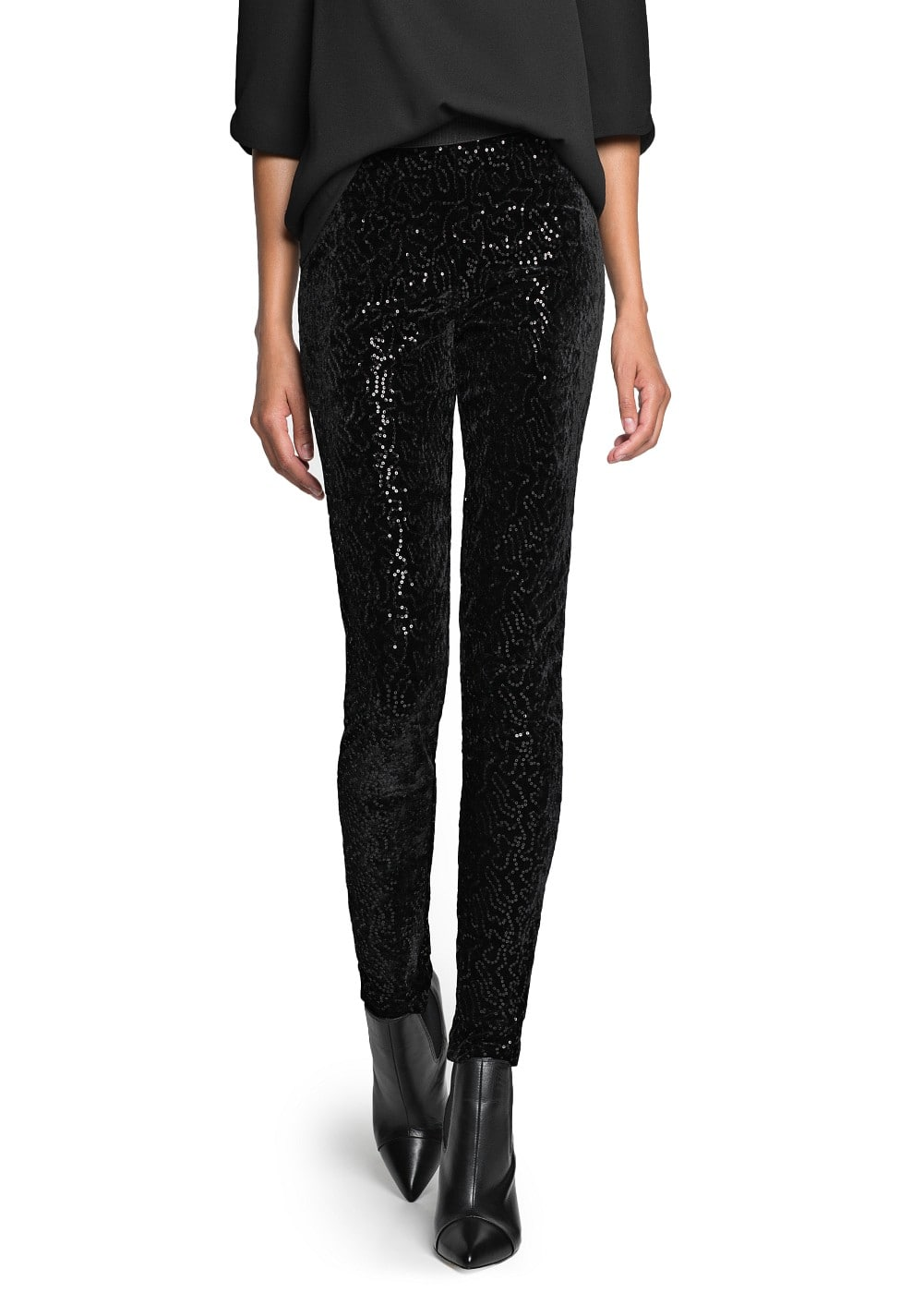 Velvet sequined leggings | MANGO