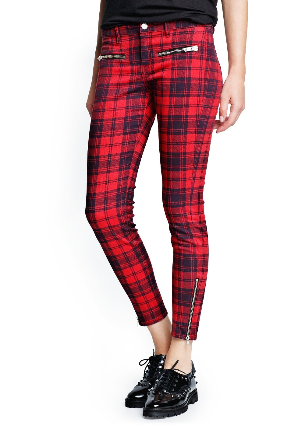 Plaid slim-fit trousers