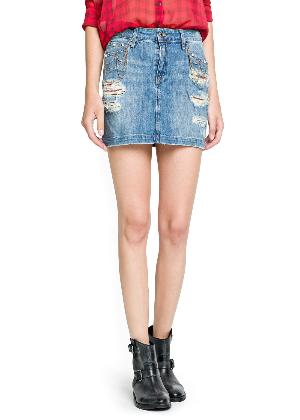 Chain denim miniskirt | MANGO