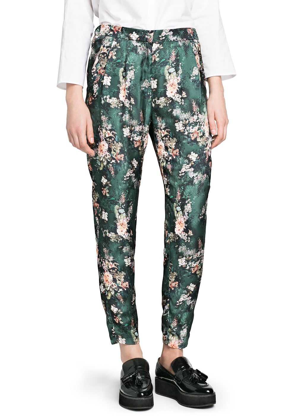 Floral print flowy trousers