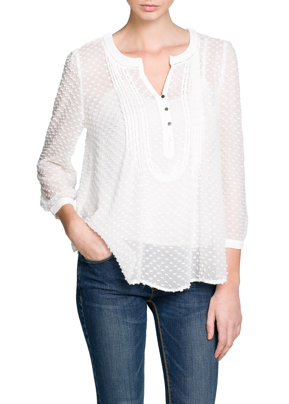 Silk and cotton plumeti blouse | MANGO