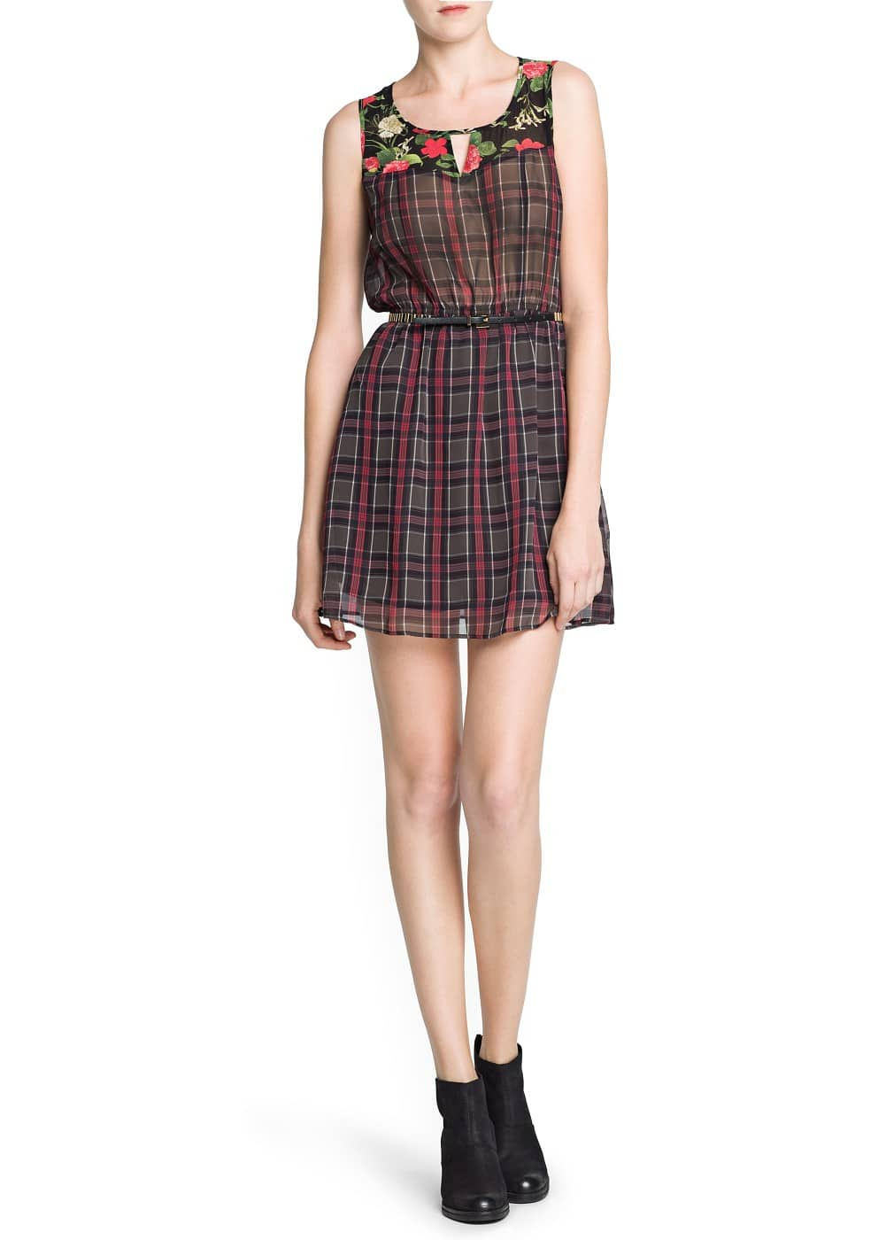 Floral panels plaid dress | MANGO