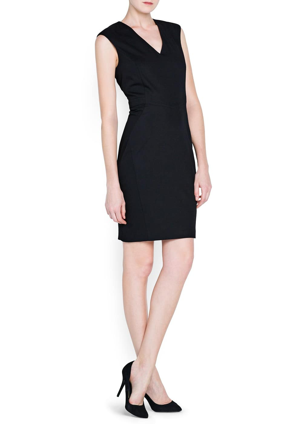 V-neckline fitted dress | MANGO