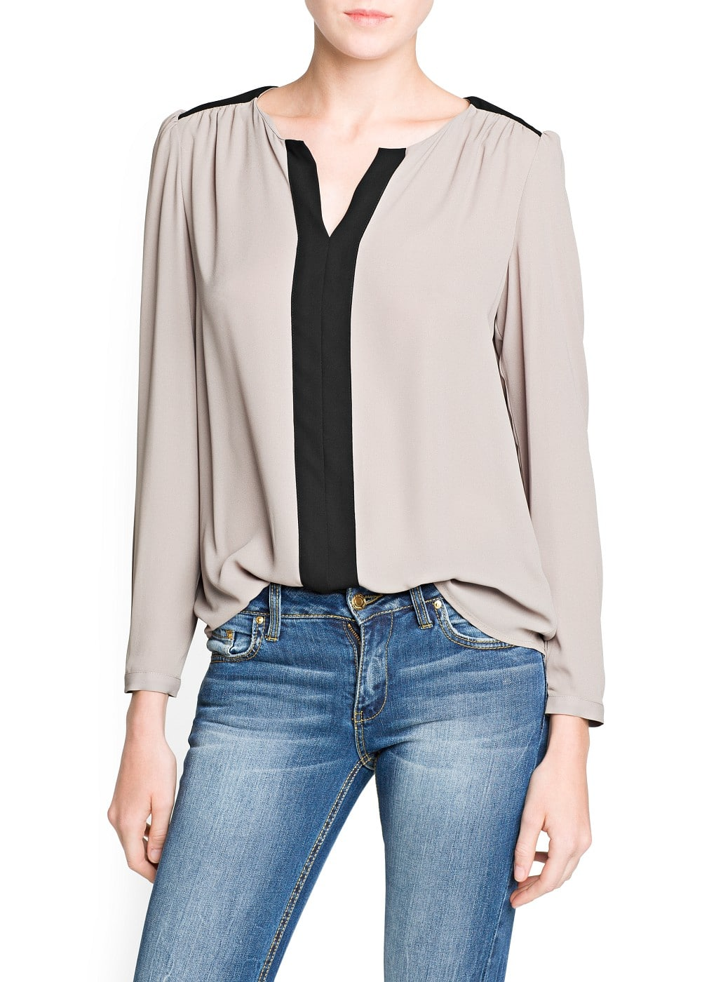Contrast panel chiffon blouse