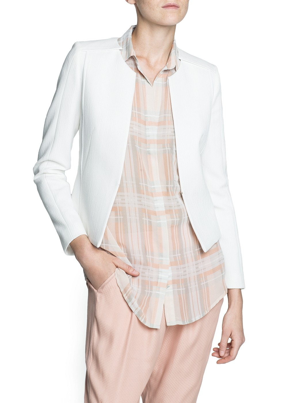 Textured structured jacket | MANGO