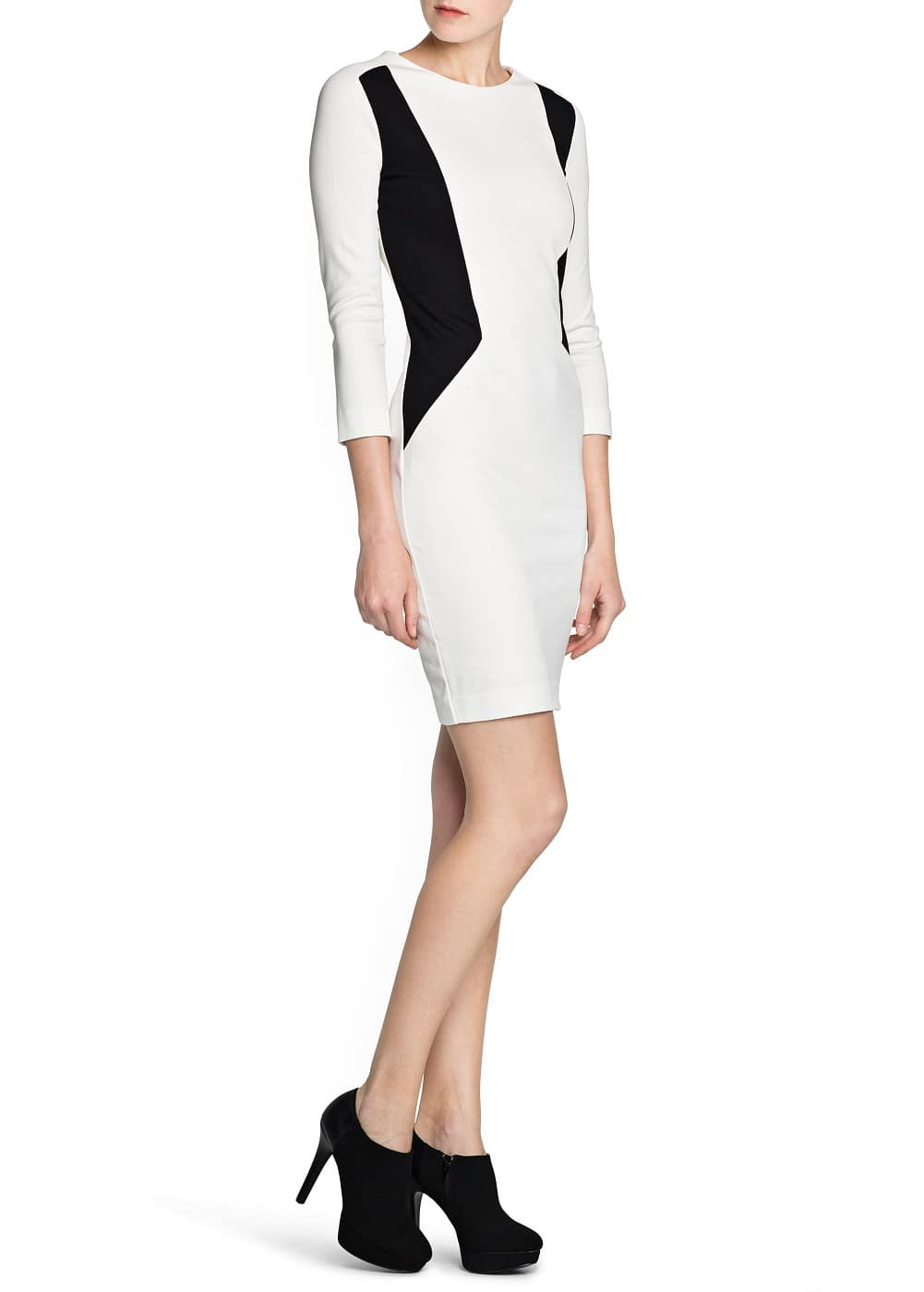 Contrast panel pencil dress | MANGO