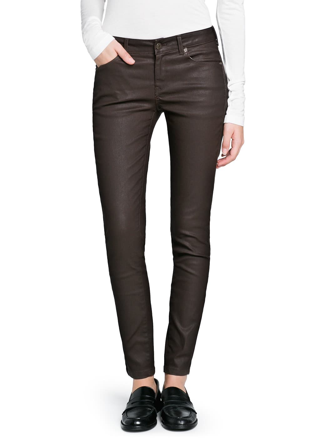 Super slim-fit coated brown jeans