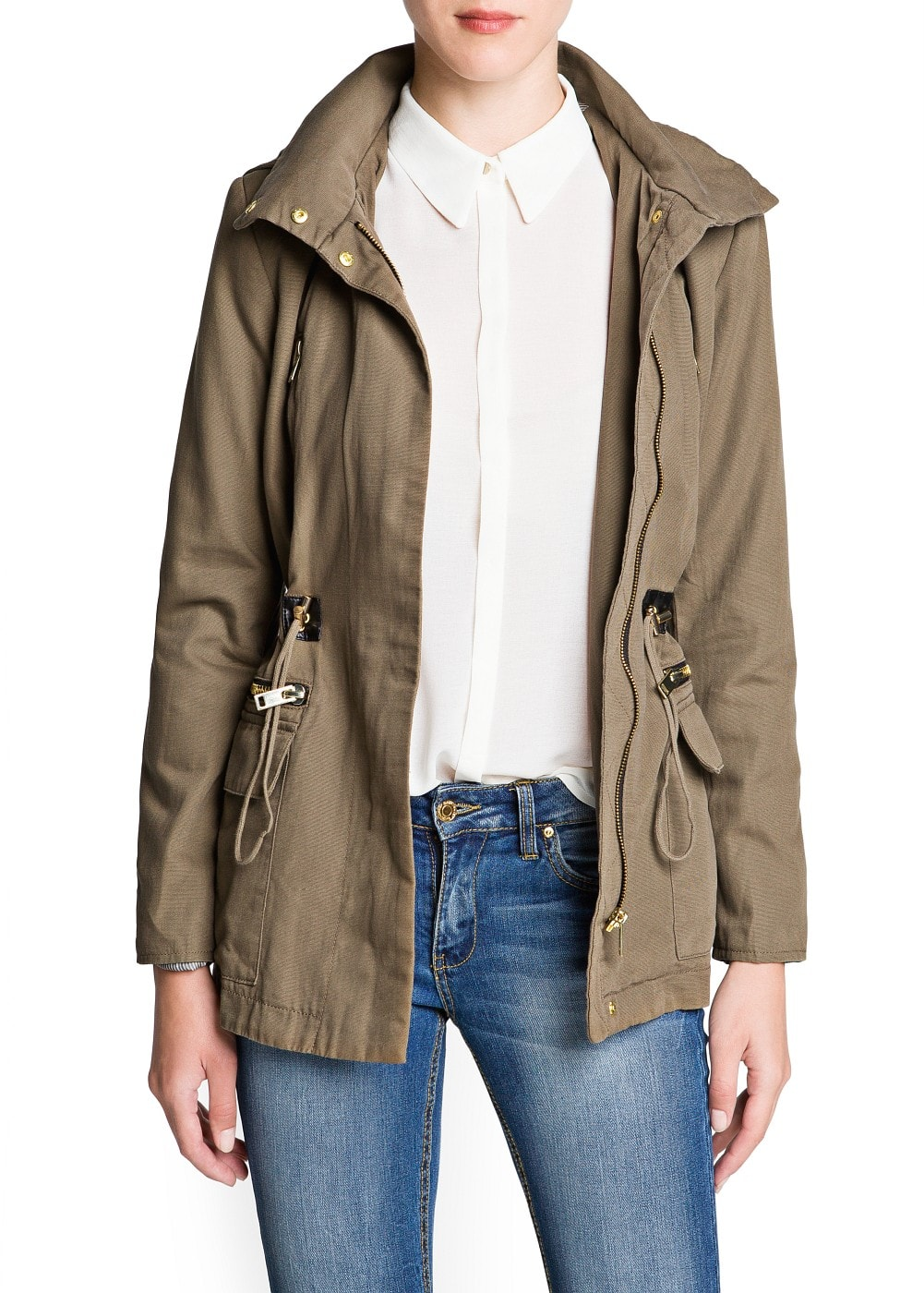 Drawstring waist cotton parka