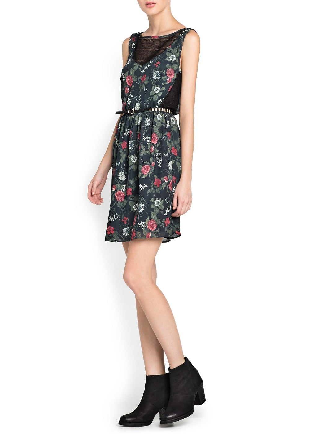 Lace panels floral dress